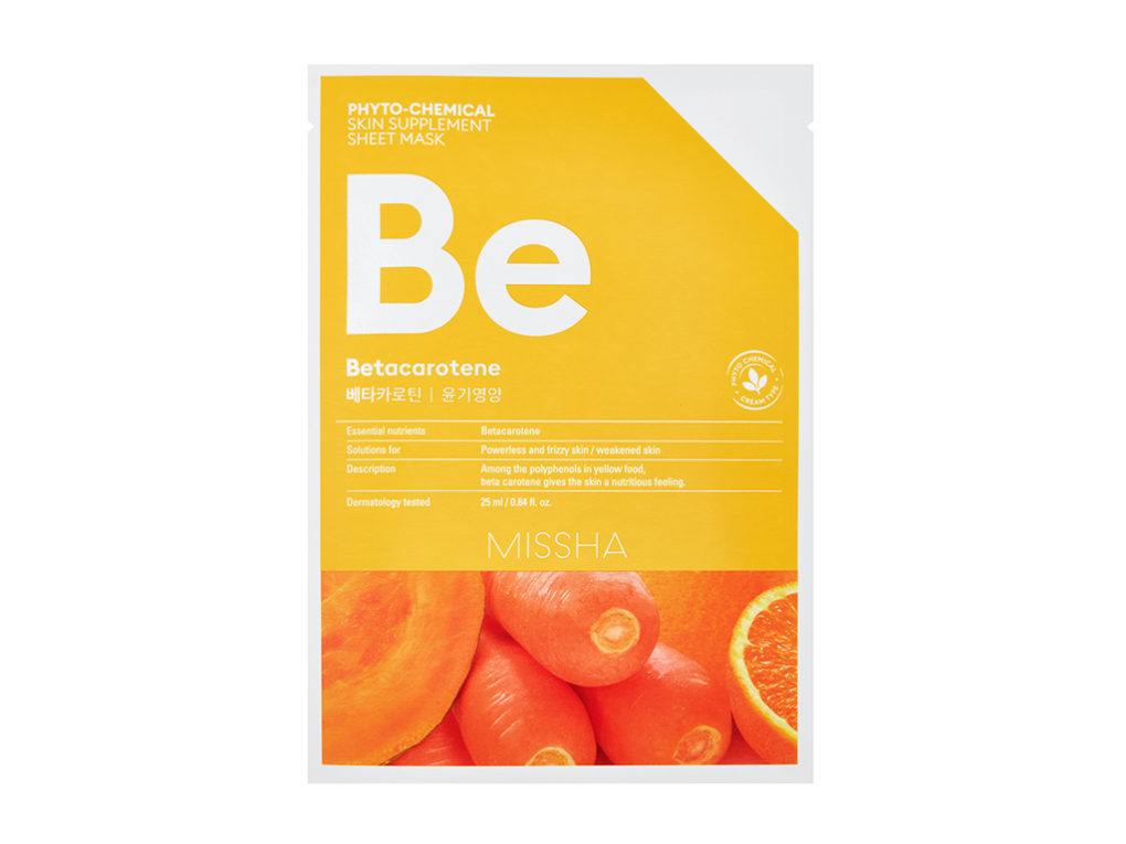 comarch MISSHA Phyto-chemical skin supplement sheet mask_Betacarotene BE